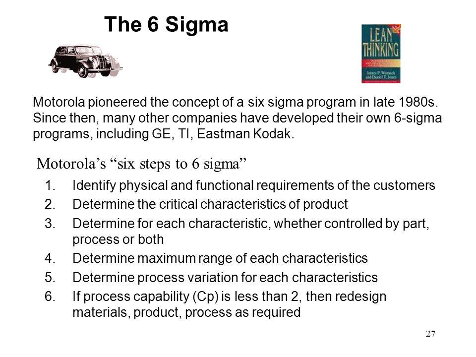 The 6 Sigma Motorola's six steps to 6 sigma