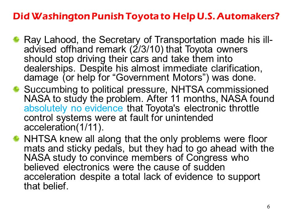 Did Washington Punish Toyota to Help U.S. Automakers