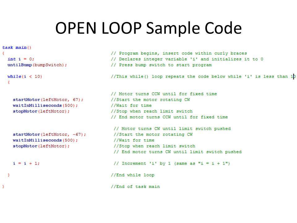 OPEN LOOP Sample Code