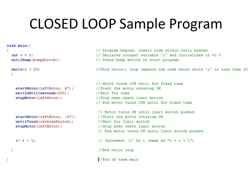CLOSED LOOP Sample Program