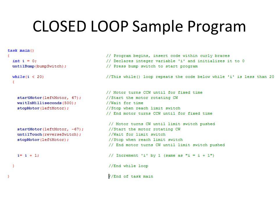 CLOSED LOOP Sample Program