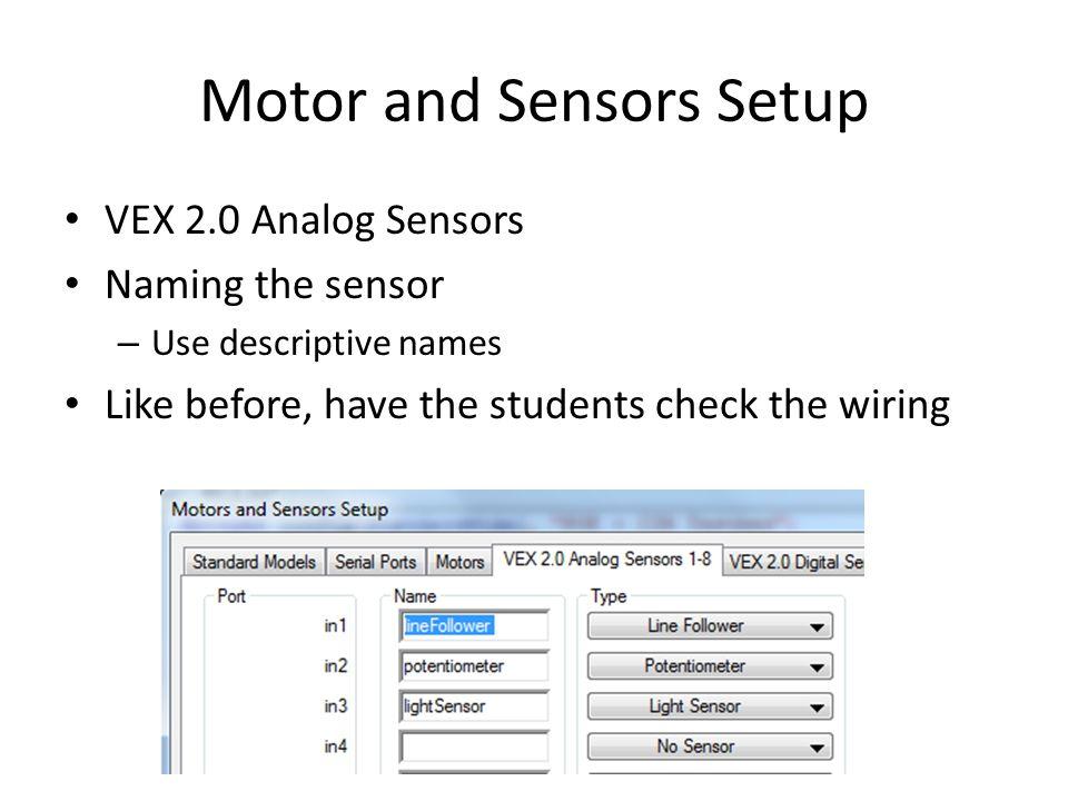 Motor and Sensors Setup