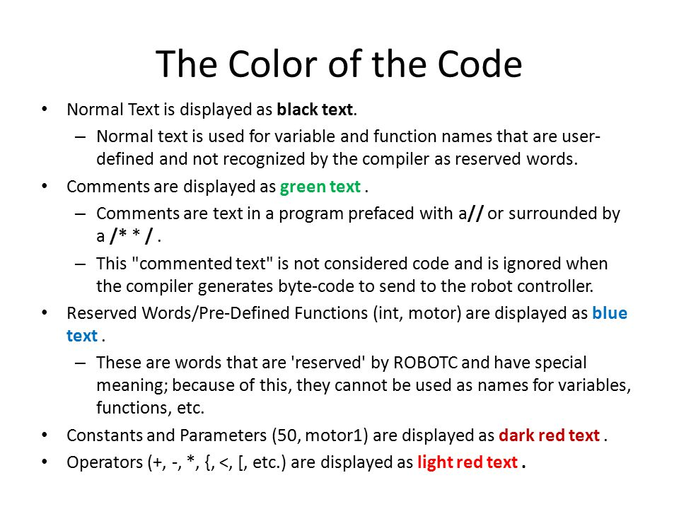 The Color of the Code Normal Text is displayed as black text.