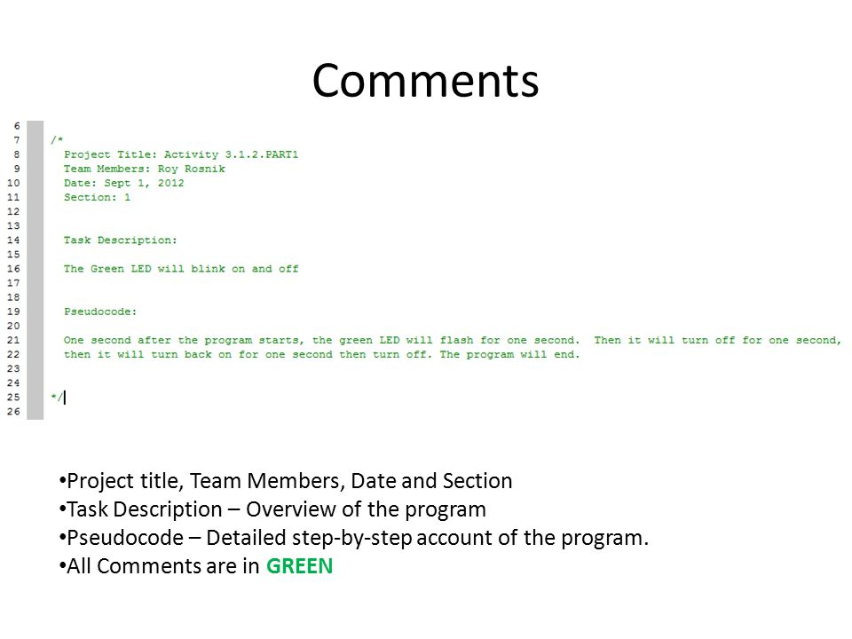 Comments Project title, Team Members, Date and Section