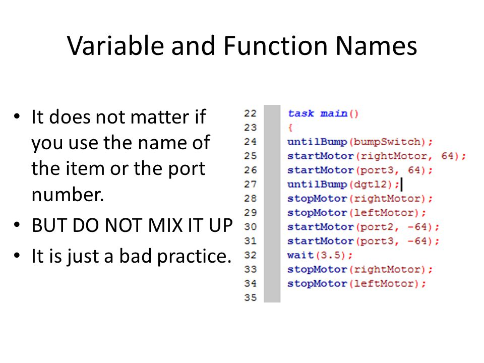 Variable and Function Names