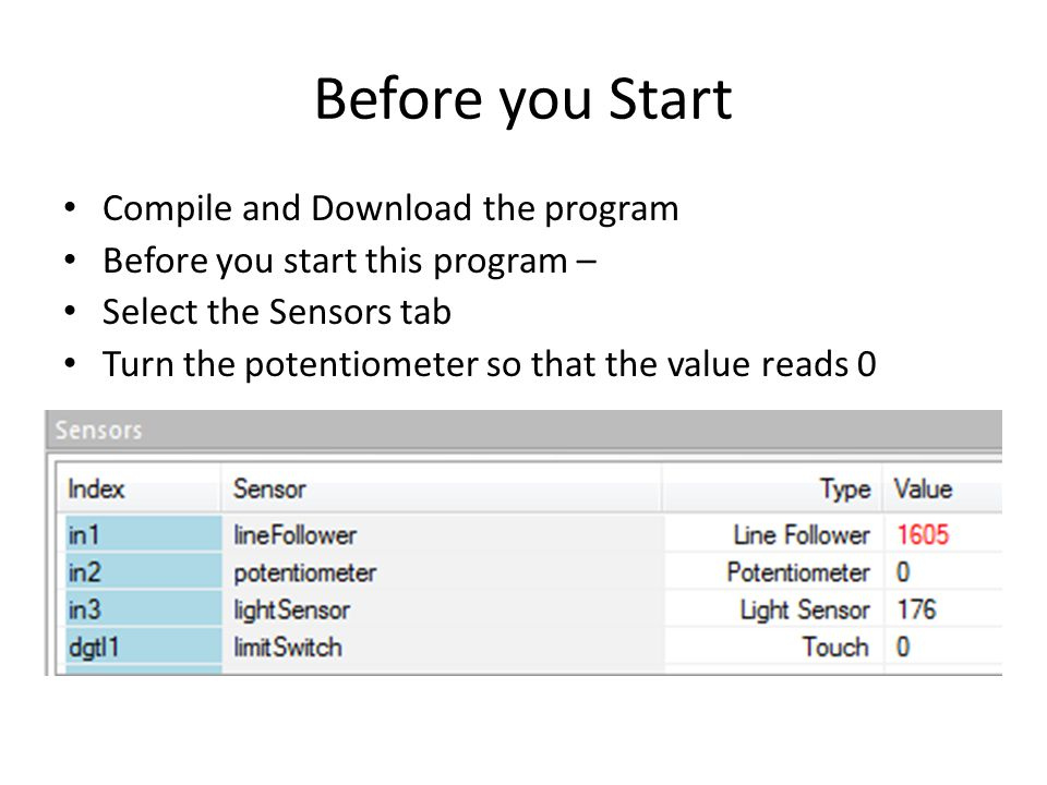 Before you Start Compile and Download the program