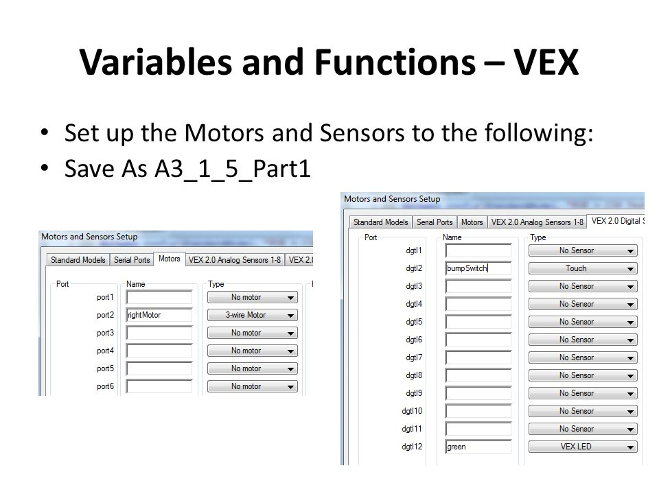 Variables and Functions – VEX