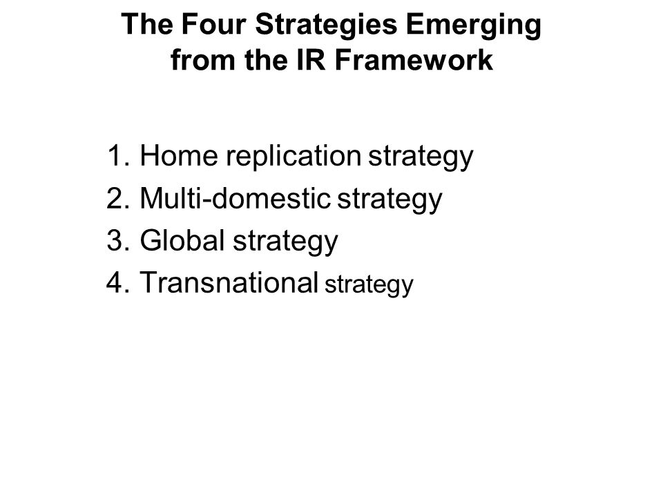 The Four Strategies Emerging from the IR Framework