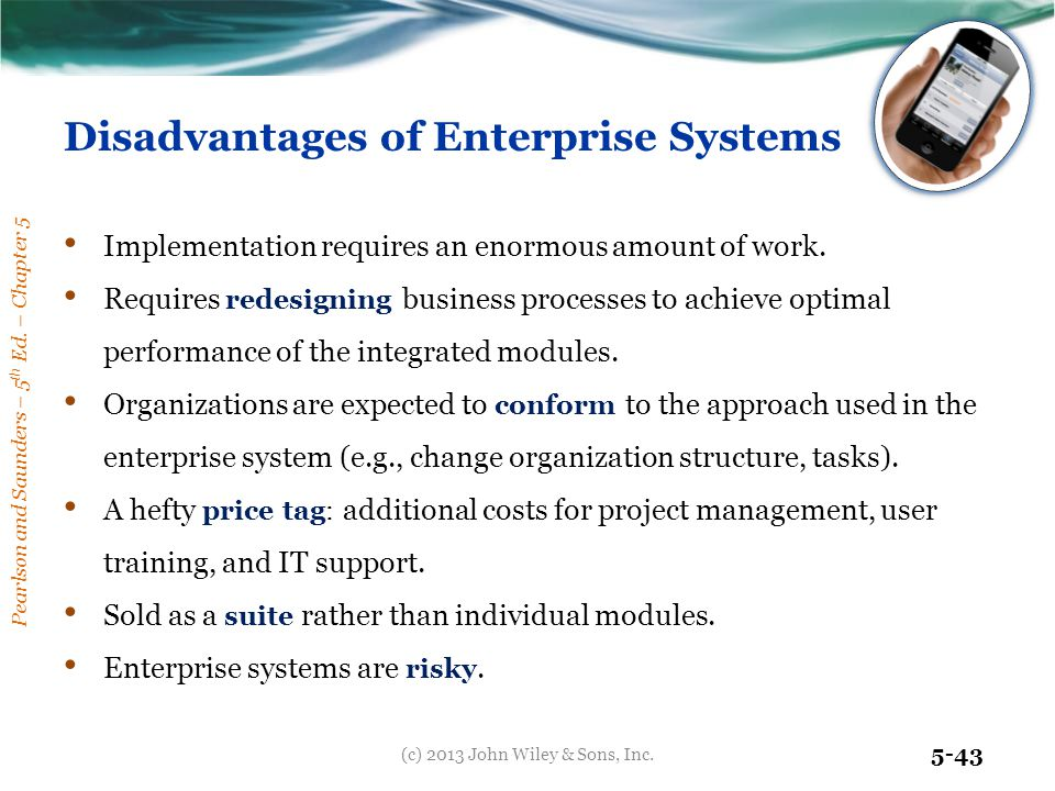 Disadvantages of Enterprise Systems