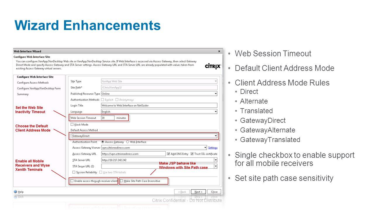 Wizard Enhancements Web Session Timeout Default Client Address Mode
