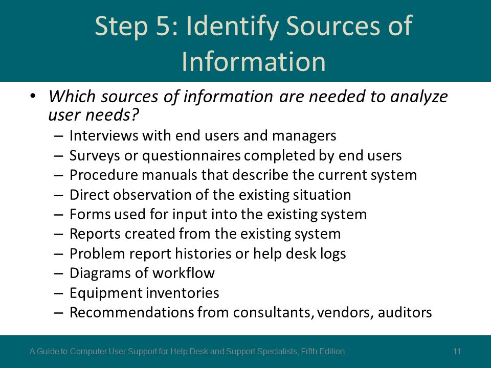 Step 5: Identify Sources of Information