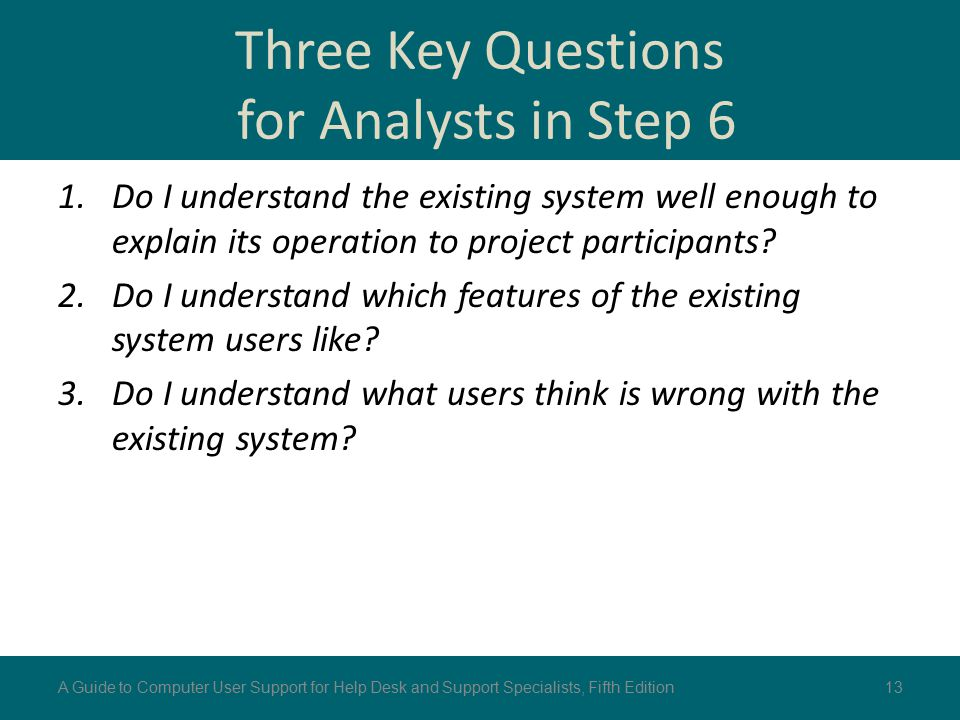 Three Key Questions for Analysts in Step 6