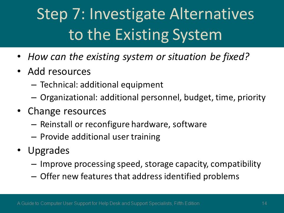Step 7: Investigate Alternatives to the Existing System