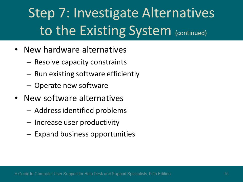 Step 7: Investigate Alternatives to the Existing System (continued)