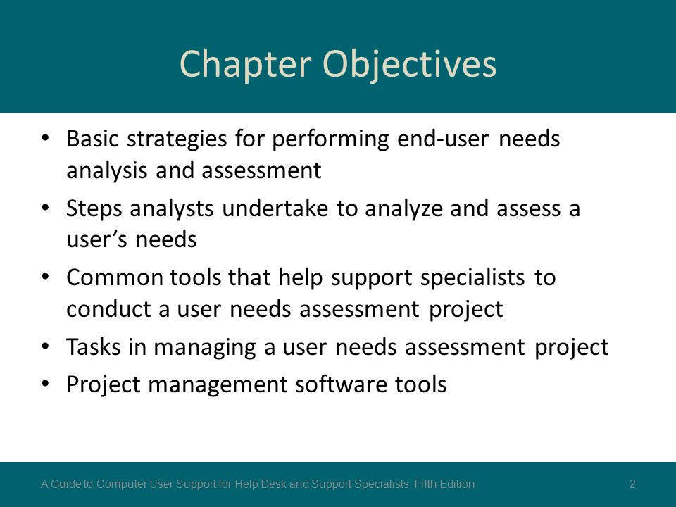 Chapter Objectives Basic strategies for performing end-user needs analysis and assessment.