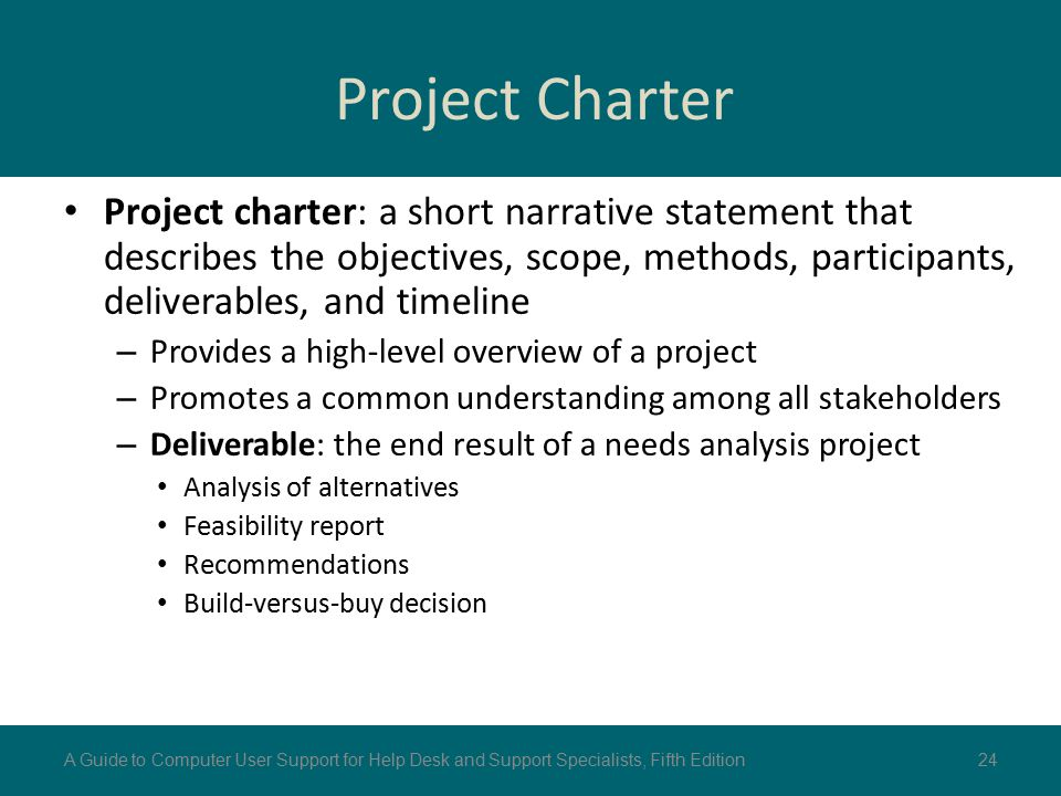 Project Charter Project charter: a short narrative statement that describes the objectives, scope, methods, participants, deliverables, and timeline.