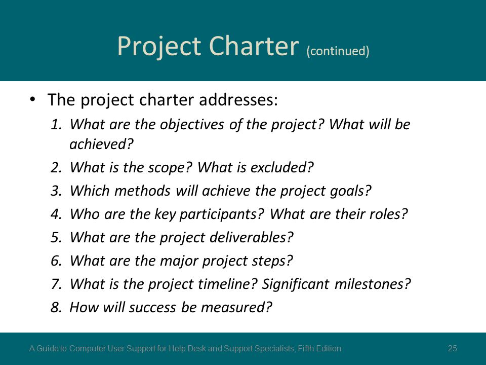 Project Charter (continued)