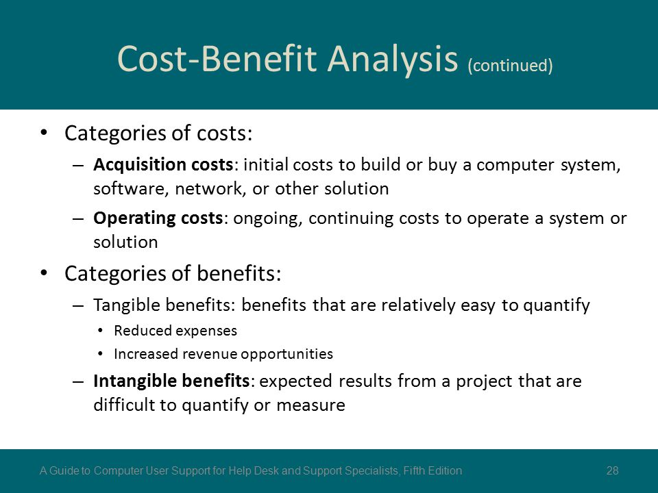 cost benefits analysis Cost–benefit analysis, sometimes called benefit costs analysis, is a systematic approach to estimate the strengths and weaknesses of alternatives it is used to determine options that provide the best approach to achieve benefits while preserving savings the cba is also defined as a systematic process for calculating and comparing benefits and.