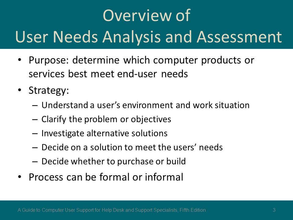 Overview of User Needs Analysis and Assessment