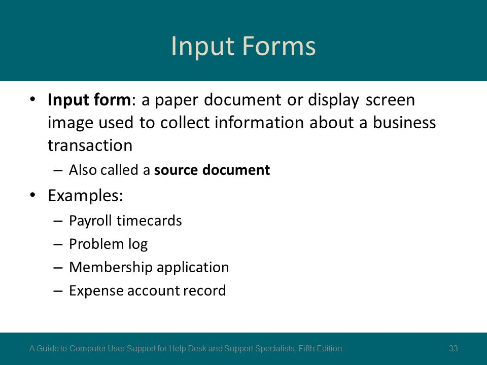 Input Forms Input form: a paper document or display screen image used to collect information about a business transaction.