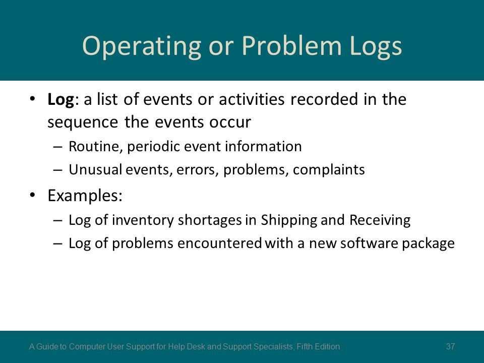 Operating or Problem Logs