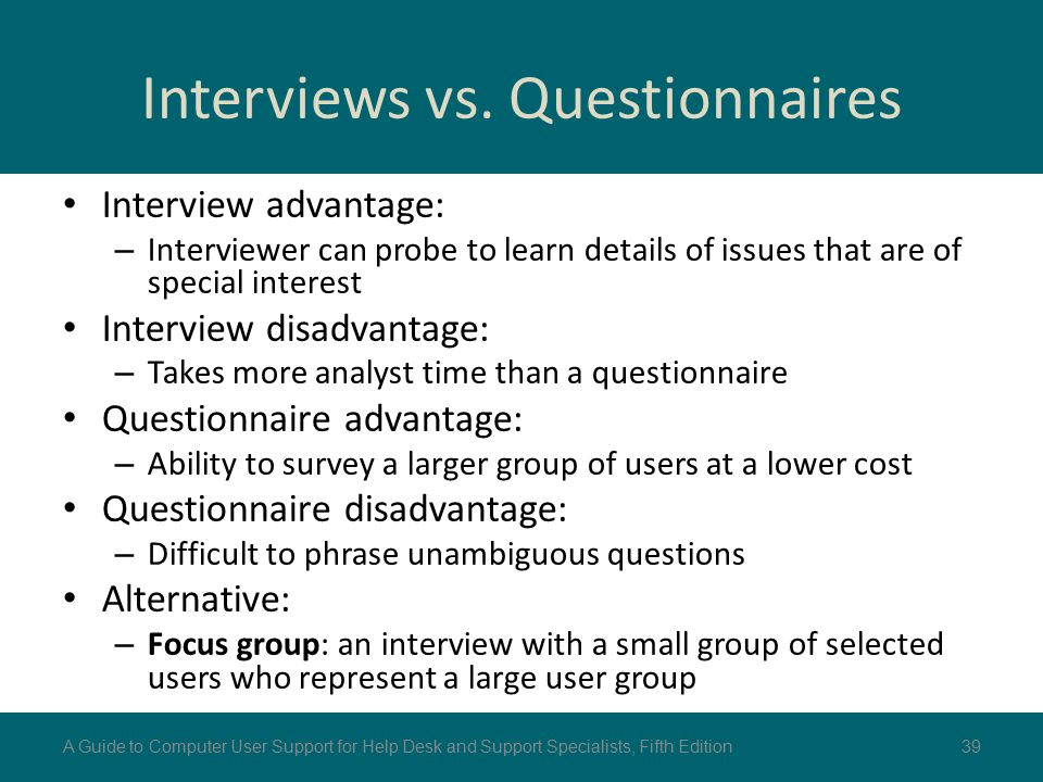 Interviews vs. Questionnaires