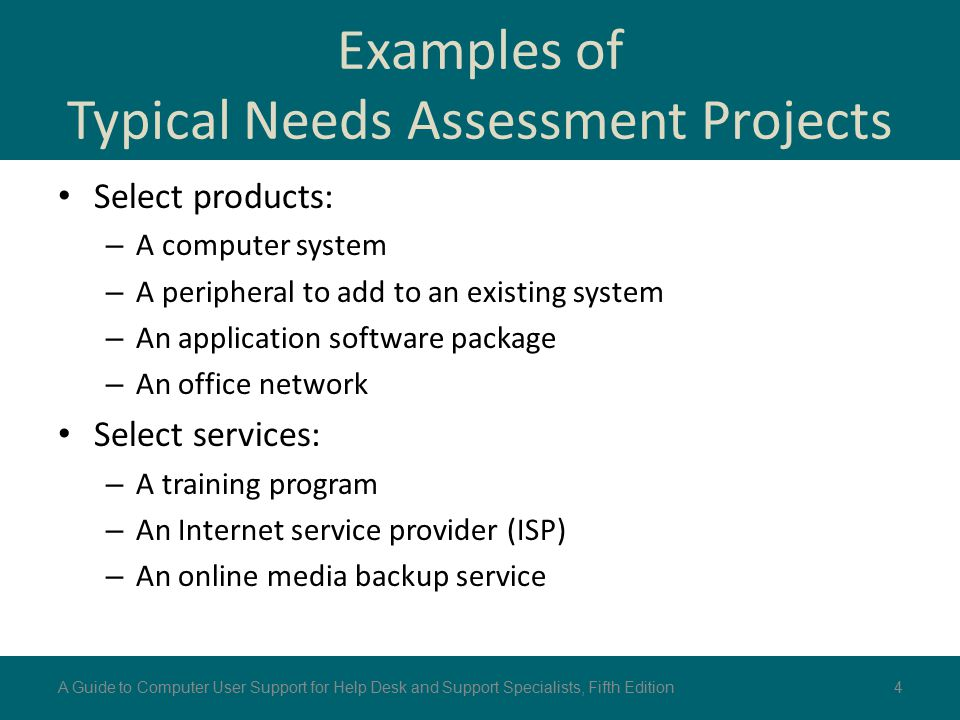 Examples of Typical Needs Assessment Projects