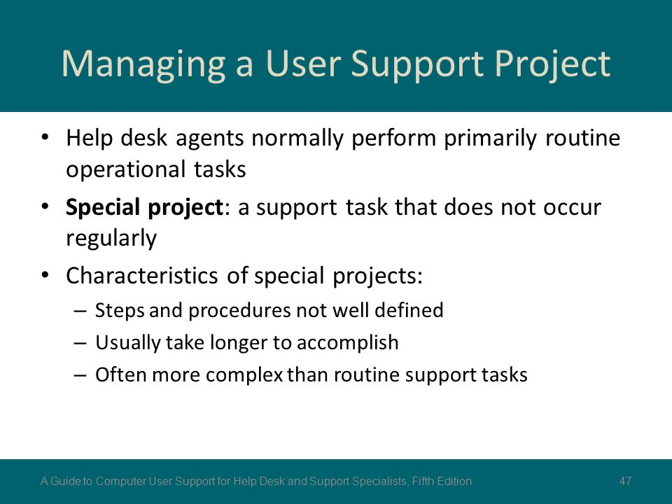 Managing a User Support Project