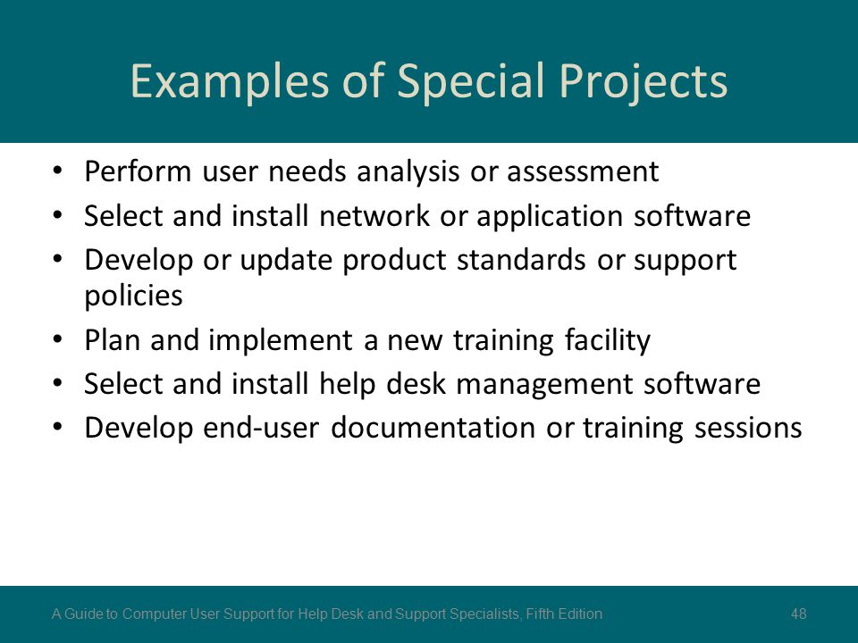Examples of Special Projects