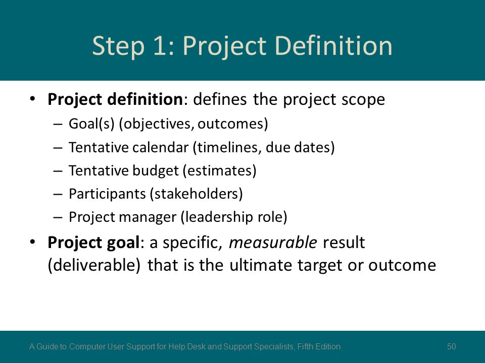 Step 1: Project Definition