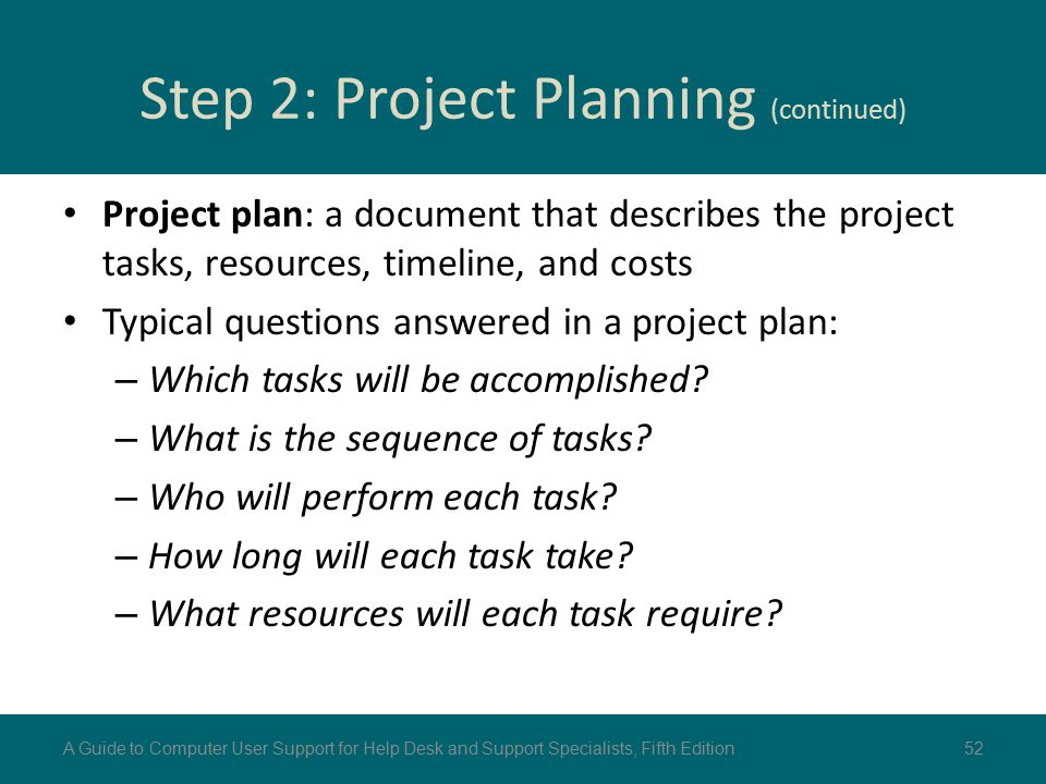 Step 2: Project Planning (continued)