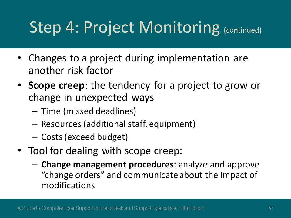 Step 4: Project Monitoring (continued)