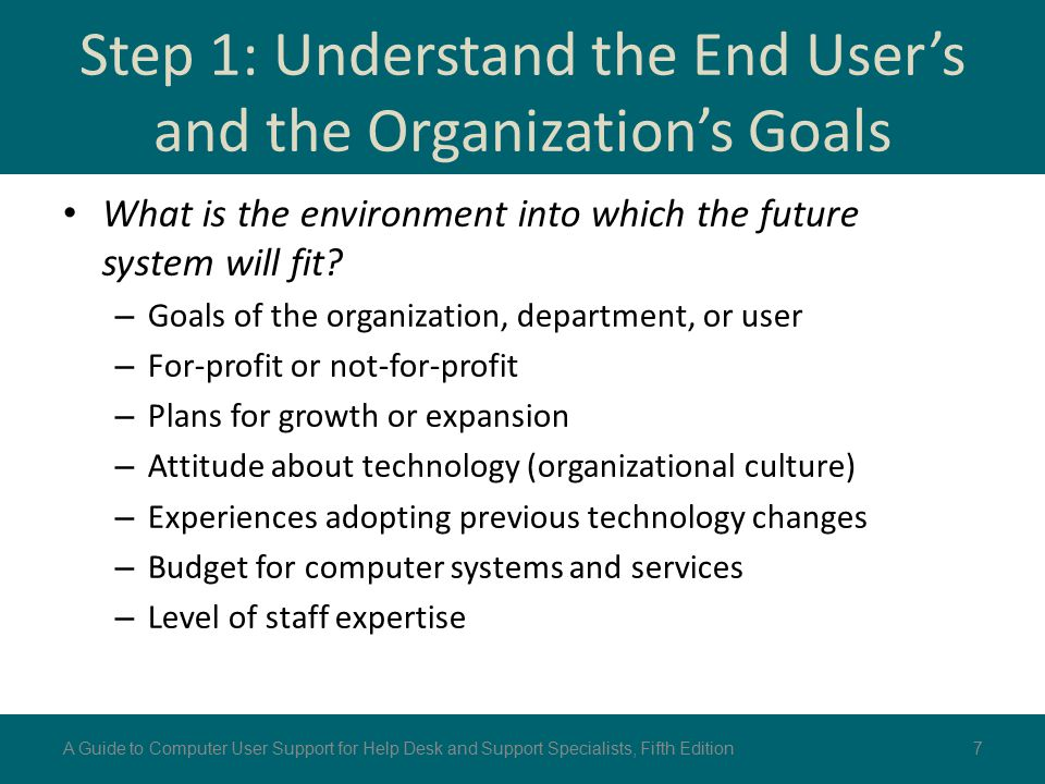 Step 1: Understand the End User's and the Organization's Goals