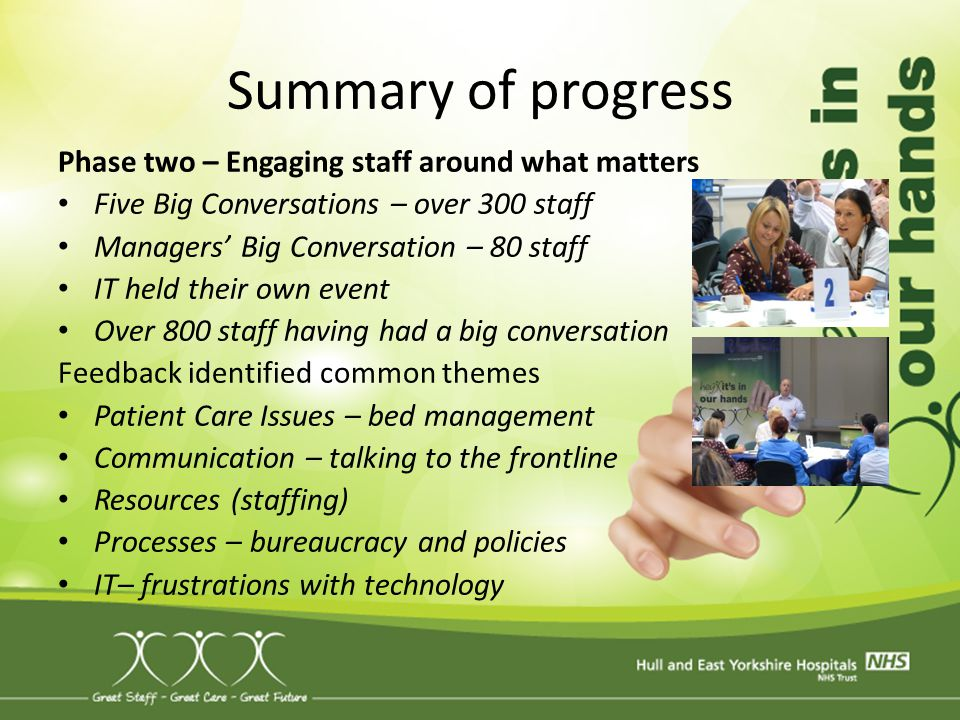Summary of progress Phase two – Engaging staff around what matters
