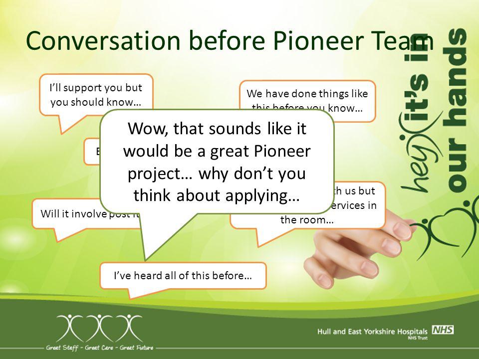 Conversation before Pioneer Team