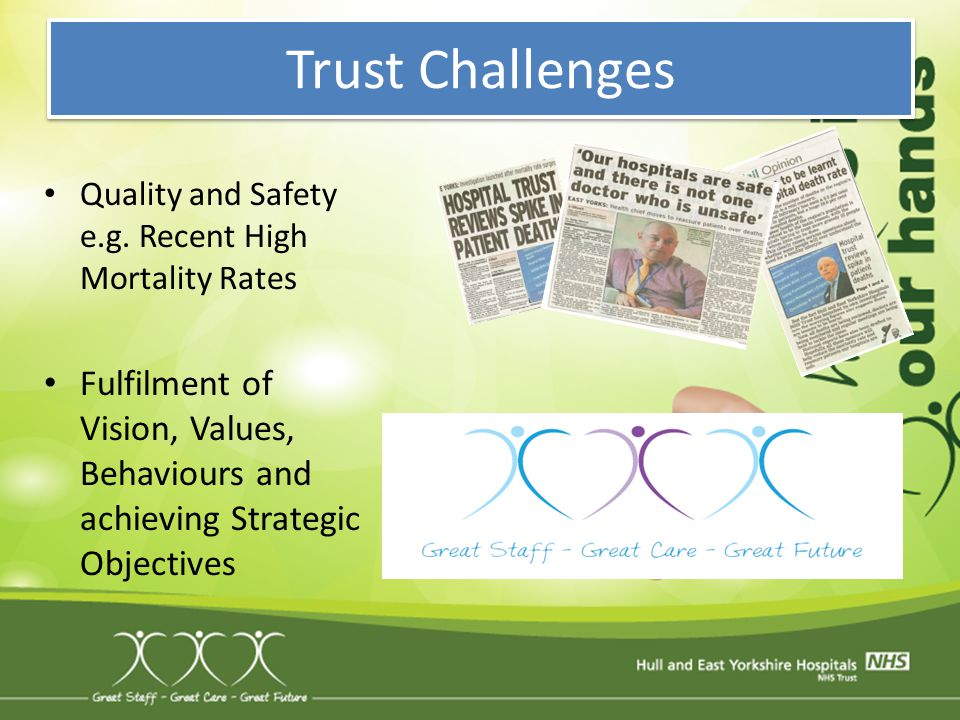 Trust Challenges Quality and Safety e.g. Recent High Mortality Rates.