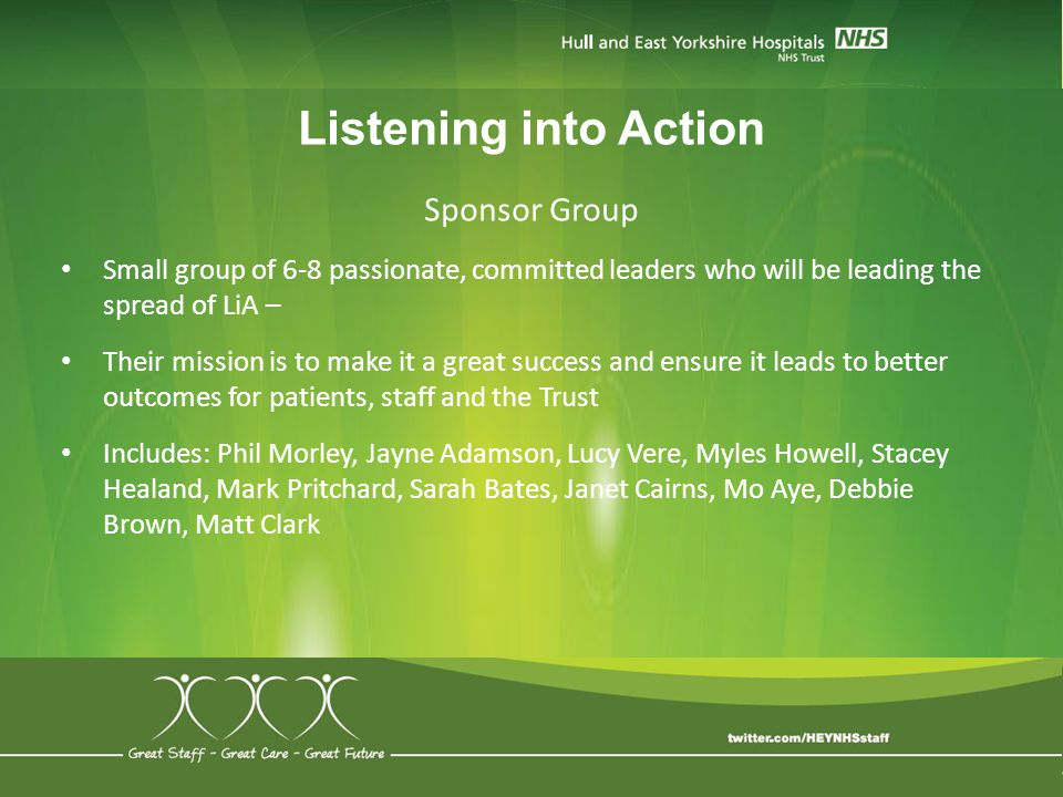 Listening into Action Sponsor Group