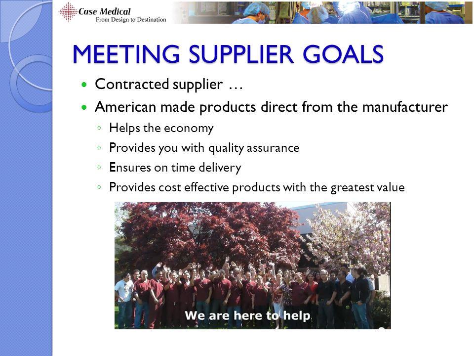 Meeting Supplier Goals