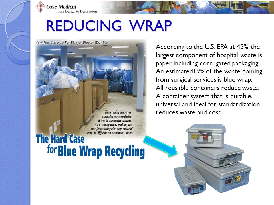 REDUCING WRAP According to the U.S. EPA at 45%, the largest component of hospital waste is paper, including corrugated packaging.