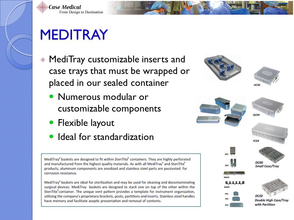MEDITRAY MediTray customizable inserts and case trays that must be wrapped or placed in our sealed container.
