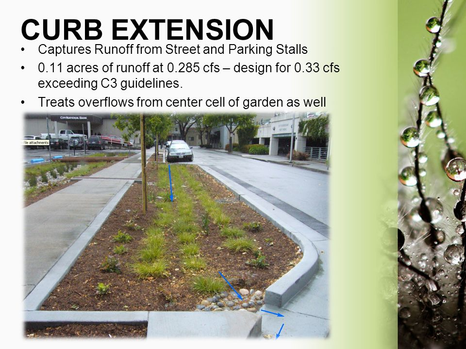 CURB EXTENSION Captures Runoff from Street and Parking Stalls
