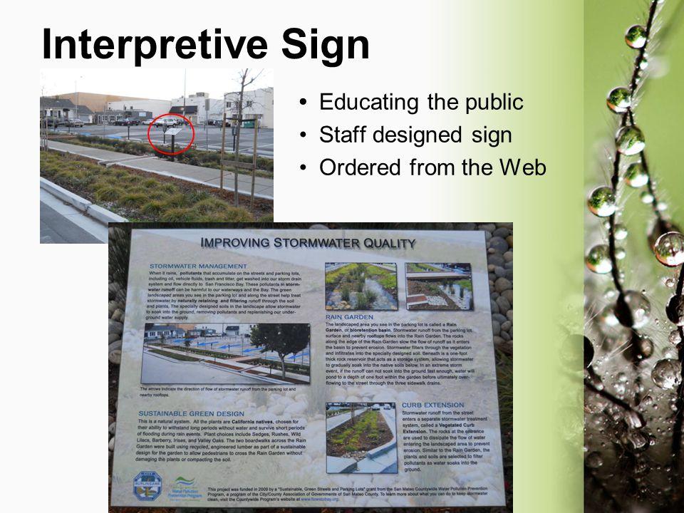 Interpretive Sign • Educating the public • Staff designed sign