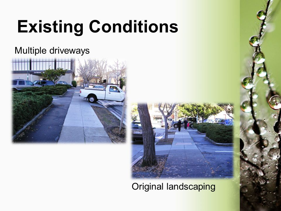 Existing Conditions Multiple driveways Original landscaping
