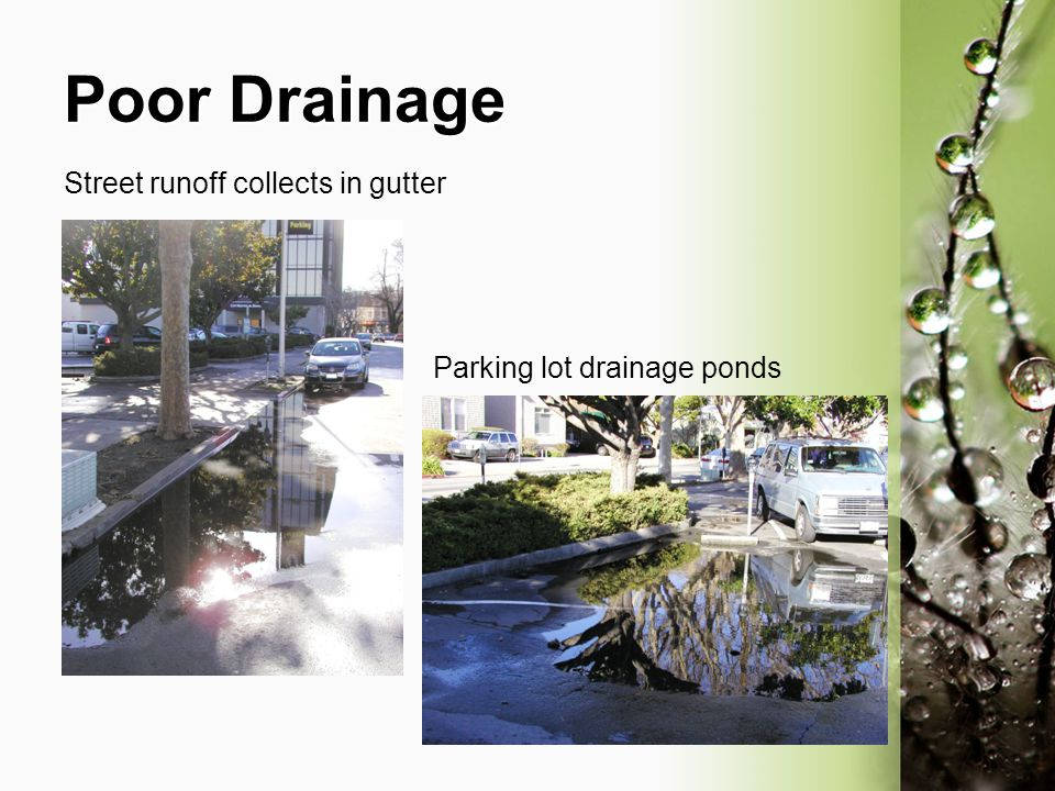 Poor Drainage Street runoff collects in gutter