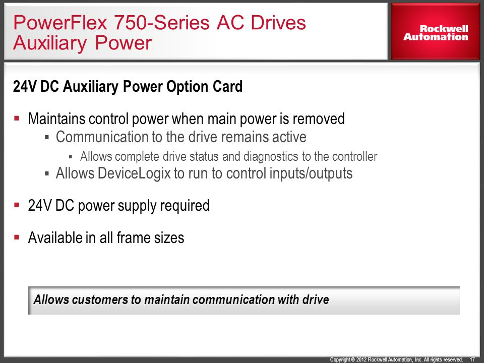 PowerFlex 750-Series AC Drives Auxiliary Power