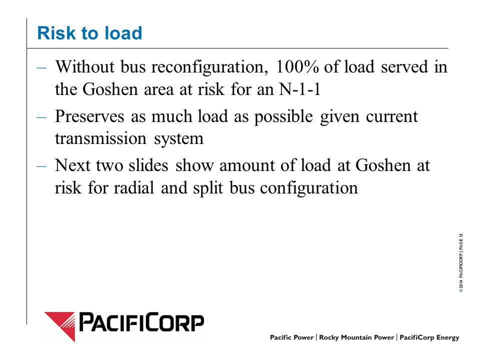 Risk to load Without bus reconfiguration, 100% of load served in the Goshen area at risk for an N-1-1.