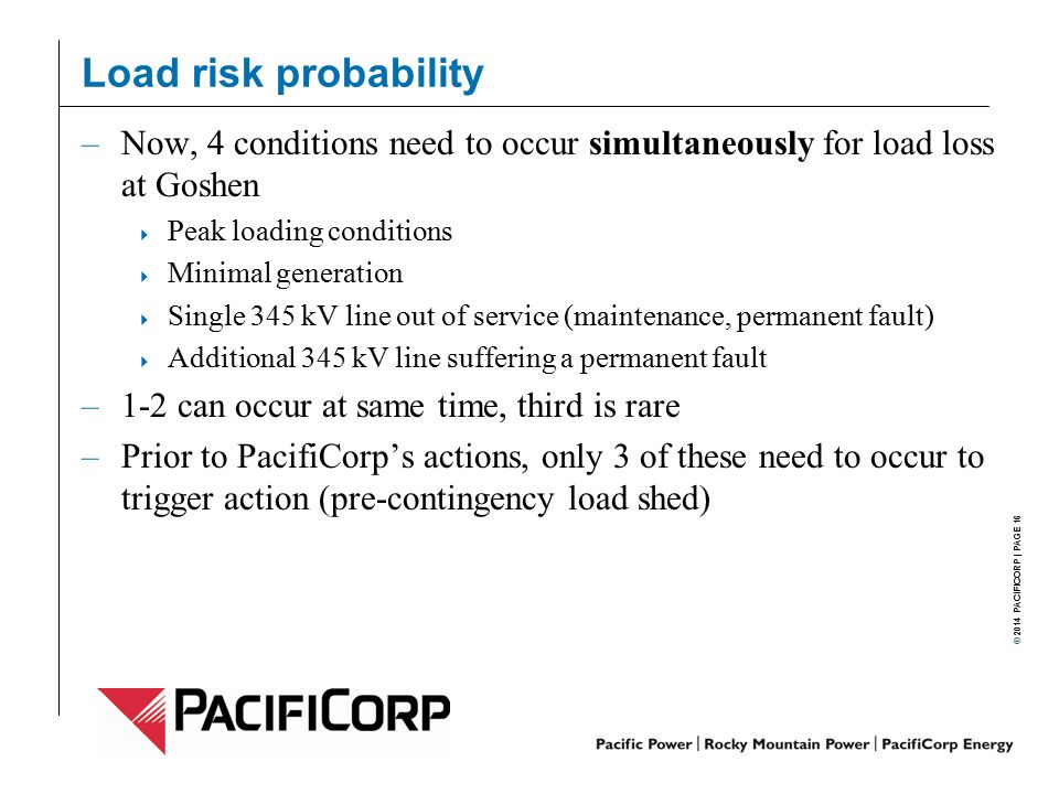 Load risk probability Now, 4 conditions need to occur simultaneously for load loss at Goshen. Peak loading conditions.