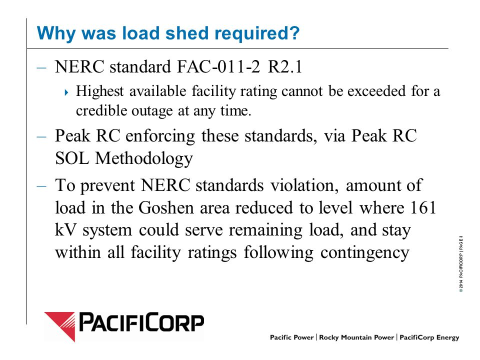 Why was load shed required