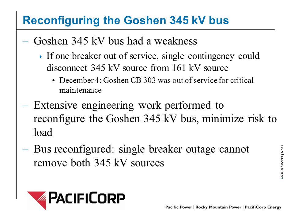 Reconfiguring the Goshen 345 kV bus
