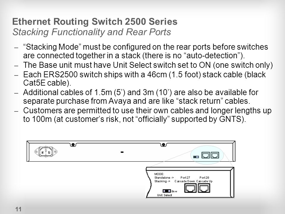 Ethernet Routing Switch 2500 Series Stacking Functionality and Rear Ports